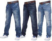 Crosshatch Mens Denim Jeans Zip Fly Regular Fit Trousers Pants Big & Tall Sizes