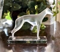 Lalique French Crystal Greyhound Large Figurine Mint, Signed and Authentic