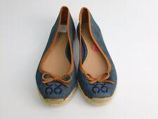 NEW Coach Size 5 Blue Denim Bow Flat Espadrilles Shoes