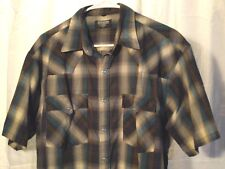 Vintage Youngbloods Blue Plaid Pearl Snap Western Shirt Large L Rockabilly