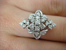 STRIKING LADIES DIAMOND CLUSTER RING 0.70 CT T.W. 14K GOLD 5.5 GRAMS SIZE 6.25