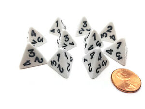 Pack of 10 D4 Opaque 4 Sided Dice - White with Black Numbers