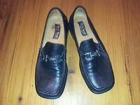 Mens Black Leather Loafer Shoes - Size 9