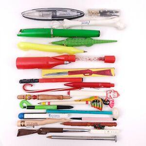 24 Unusual Shaped Novelty Ink Pens & Pencils Lot - Heinz, Epcot, Gator, Disney +