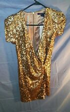 French Connection Gold Sequin Mini Party Dress Plunge Neck sz 6 NWT MSRP $298