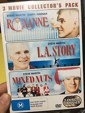 Mixed Nuts / Roxanne / L.A. Story region 4 DVD (3 discs) RARE Steve Martin films