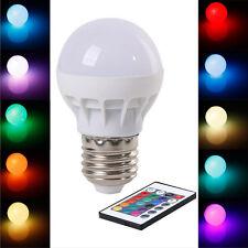 3W E27 AC 85-265V RGB LED Light Bulb Lamp Color Changing+IR Remote Control AT6