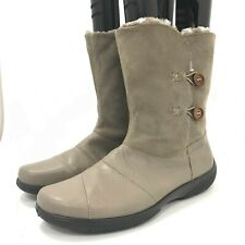 Hotter Ladies Winter Boots Size UK 8 Beige Grey Fur Lined Leather Look 301611