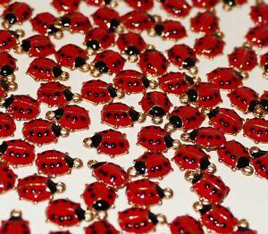 4 Ladybug Enamel  Small Lucky Charms for Bracelet Ladybird Necklace Pendant D391
