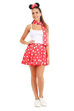 Adults Minnie Mouse Fancy Dress Party Costume Set Outfit Hen Mini Red Polka Dot