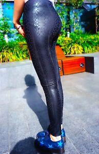 Womens Stretch  Snakeskin Leggings Pants Black Snake Skin Print Legging