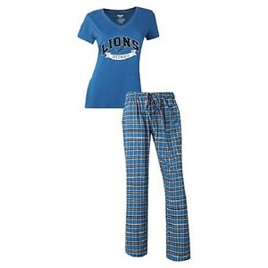 NFL FOR HER WOMEN'S BLACK MEDALIST TOP & FLANNEL PANT PAJAMA SET PICK TEAM SIZE