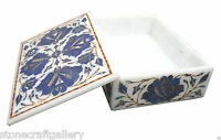 """6"""" x 4"""" x 2"""" Marble Jewelry Box Rare Lapis Stone Mosaic Floral Home Decor Gift"""