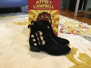 JEFFREY CAMPBELL Suede Buckles Ankle Boots Size EU 40