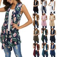 Women Sleeveless Draped Open Front Cardigan Vest Asymmetric Hem Women Blouse