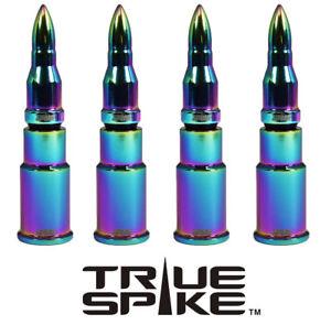 4 TRUE SPIKE NEOCHROME BULLET WHEEL RIM TIRE AIR VALVE STEM COVER CAP FOR HONDA