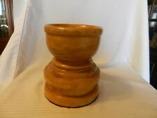 "Large Hand Made Wooden Candle Holder Round Light Oak, Holds 3.25"" Candle"
