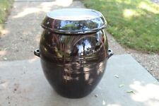 LARGE Korean Chinese Earthenware Pottery Bowl Lidded Vessel ONGGI Signed Brown 2