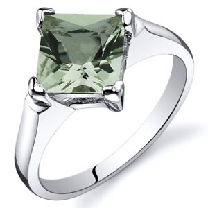 1.50 cts Green Amethyst Engagement Ring in Sterling Silver Sizes 5 to 9