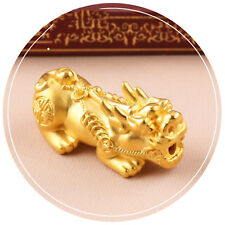 1pcs Pure 999 24k Yellow Gold 3d Coin 貔貅 Pixiu Bless 福 Bead Pendant / 1.2g