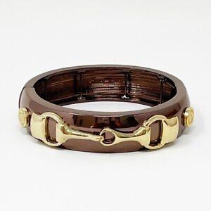 NWT Anne Klein Bronzed Gold Tone Horse Bit Stretch Bangle Bracelet