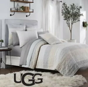 New UGG Tideline Twin Quilt Sand grey Reverse 100% Cotton Soft 68x90 in