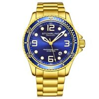 Stuhrling 3930 8 Aquadiver Date Blue Dial Stainless Steel Bracelet Mens Watch