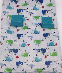 Whale Crab Blue Sherpa Plush Snuggle Stroller Car Seat Blanket Lovey Whales #8