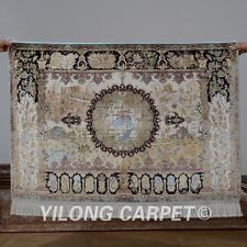 Yilong 3'x4.5' Handknotted Silk Persian Rug Living Room Vintage Carpet 0015