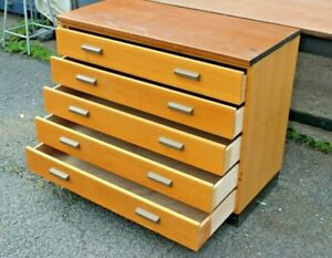 Vintage plan map chest five 5 drawers architects engineers cabinet artist craft
