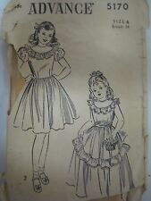 Vtg Antique 20s or 30s Advance DRESS w/ RUFFLES & LACE Sewing Pattern Girl Sz 6