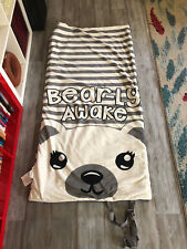 """Justice Bearly Sleeping Bag Lined 59""""x29"""" Zippered Kids Polka Dots Two-Sided"""