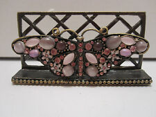 Butterfly Pink / Purple Jeweled Flowered Desktop Business Card Holder Stand