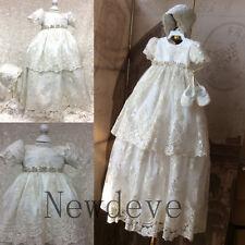 White Ivory Baptism Dresses Lace Beading Bonnet Christening Gowns Appliques Long