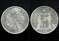 5 FRANCS 1874 K - FRANCE - Bordeaux - Hercule (argent / silver)