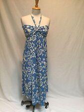 BLUE GINGER LIGHT BLUE DRESS W/ WHITE HAWAIIAN DESIGNS- SIZE S