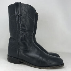 Justin Boots Mens Roper L3057 Black Leather Cowboy Western Boots Size 7.5 C