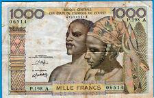 COTE D'IVOIRE 1000 FRANCS ND TB