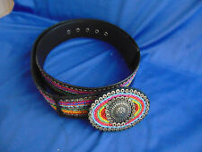 "Lady's Belt multi colored beads length 45"" western style oval buckle dress jean"