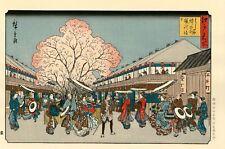 """Véritable Estampe Japonaise De Hiroshige """"Fête Des Cerisiers En Fleurs..."""""""