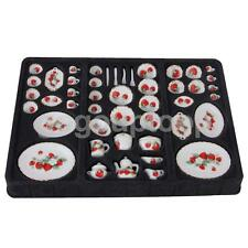 46 Dolls House Miniature Dining Ware Porcelain Tea Set Strawberry Print 1:12
