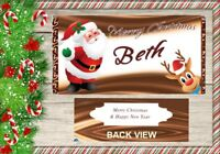 X1 PERSONALISED Santa & Rudolph  CHRISTMAS CHOCOLATE BAR WRAPPER fit galaxy 110g