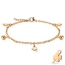 Shamrock and Ball Dangling Charm Rose Gold Stainless Steel Anklet Bracelet