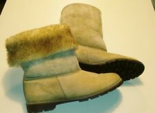 Wimzees Vintage 80's Women's 7 leather shearling wool tan brown Boots slip on