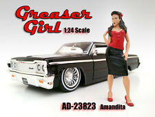 GREASER GIRL AMANDITA FIGURE FOR 1:24 SCALE MODEL CARS AMERICAN DIORAMA 23823