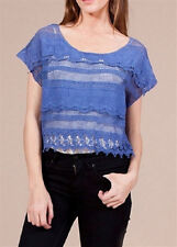 Short Sleeve Crochet Embroidered Cropped Top S NWT