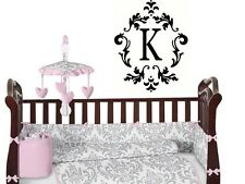 DAMASK WITH MONOGRAM Custom Vinyl Wall Decal Lettering Words Graphics Sticker