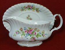 ROYAL ALBERT china MOSS ROSE pattern 2-piece Gravy Boat
