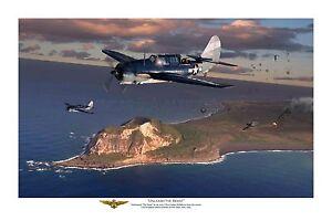 "WWII WW2 USN USS Lexington Curtiss Helldiver Aviation Art Photo Print - 8"" X 12"""