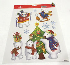 Christmas Polar Bears Window Clings 9 Count Decorations Holiday Decor